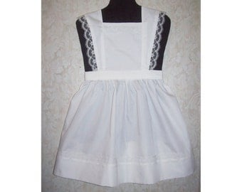 Girls size 5-6 Flared Strap bib apron pinafore w/lace trim white or gingham checks handcrafted