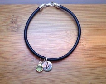 leather initial bracelet with birthstones - initial bracelet - initial bangle - initial monogram bracelet