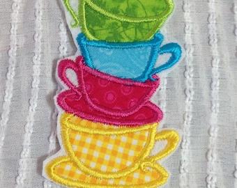 Topsy Turvy Teacups Iron On Appliqué
