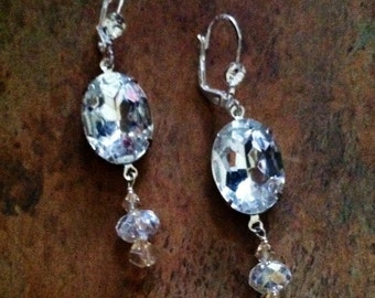 Vintage Clear Crystal Earrings READY TO SHIP, Bridal Earrings, Statement Earrings, Recycled Vintage