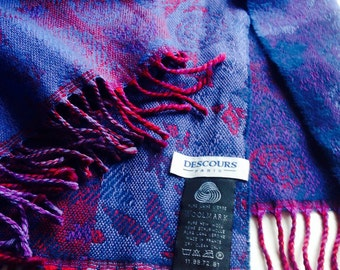 Descours Paris Wool, Laine Scarf with Red, Blue and Purple Colours