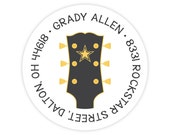 Guitar Address Labels - Personalized Address Labels for Kids - Round Return Address Labels - Guitar Stickers - Kids Mailing Labels