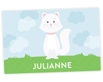 Cat Placemat - Kids Personalized Placemat - Childrens Placemat - Set The Table - Activity Placemat - Laminated Place Mat