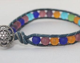 seaglass wrap bracelet - sea glass beaded wrap - single wrap bracelet - beaded leather - free shipping