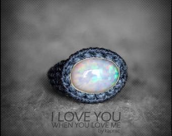 Ethiopian Genuine Opal Macrame Ring