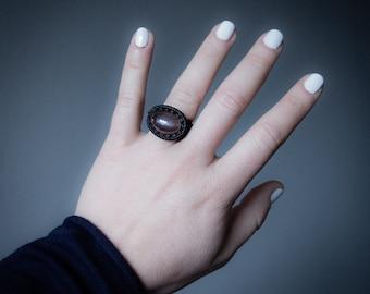 Grey Indian Moonstone Ring Macrame