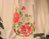 Gerber daisy wine glass for Mom, Aunt, Grandma, Sister, Godmother, etc order in any colors
