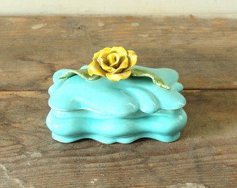Vintage Ceramic Jewelry Box with Lid Dresser Trinket Box Turquoise with Yellow Rose