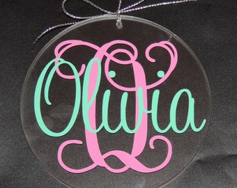 Personalized Christmas Ornament Flat GLASS Free Shipping