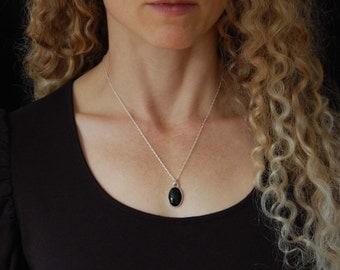 Black Onyx Pendant Handmade Silver Necklace Minimal Black Necklace Black Onyx Jewelry Artisan Necklace