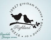 Round Address Stamp -  Two Too Cute Love Birds  - Personalized Etsy Design (R1009) - Custom Address Stamp