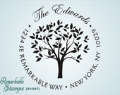 Round Address Stamp - Tree with Leaves - Oak Cottonwood Beech - Personalized Etsy Design (R1007) - Return Address Stamp