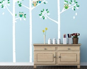 Birch Tree Decals with Owls, REUSABLE Fabric Decal, Kids Tree, Nontoxic PVC free Ecofriendly Decal, 662