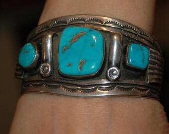 Beautiful Old Navajo Joe Kee Blue Gem Turquoise Sterling Bracelet 80 Grams Hallmarked