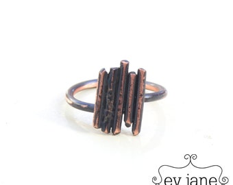 Black Stripes Lines Minimal Ring Copper Oxidized Boho Hippie Rustic Band Wire Stacking Adjustable Abstract by evjanemetalwork