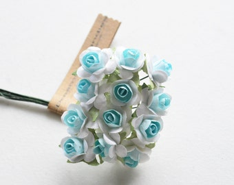 3 Flowers Branchs 36 Flowers colors Soft Blue with White Flowers