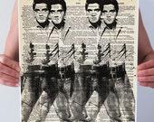 Warhol DOUBLE ELVIS Dictionary Art Print Poster Gun Cowboy Western Black White Wall Decor Art Rocker Vintage Book Page