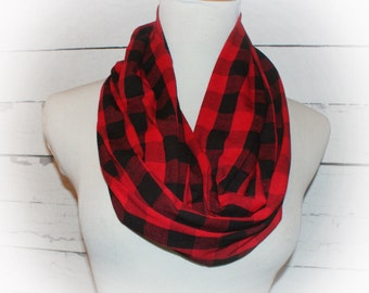 Womens Red and Black Buffalo Plaid Check Infinity Scarf Great for Fall Winter Christmas Photos Jersey Knit Stretch Loop