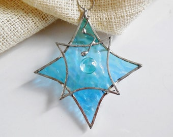 Christmas Star. Suncatcher, Christmas ornament. Stained Glass Star.