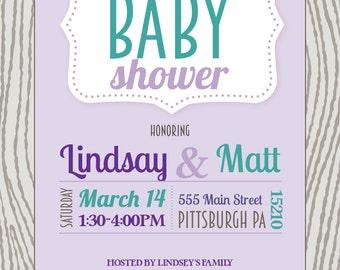 Custom 5X7 Baby Shower Invitation by Eloha Designs
