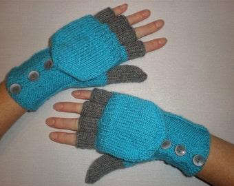Hand-knitted turqoise color women convertible fingerless gloves/wrist warmers to mittens with buttons