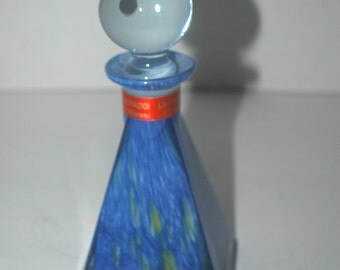 Murano perfume bottle  with stopper   blue glass  Italian made glass bottle