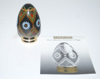 sale Franklin Mint Ukrainian Egg   Collector's Treasury of Eggs   hand painted egg on stand