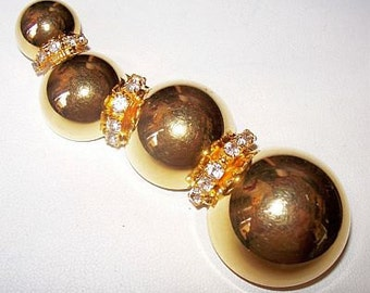 "Ornament Rhinestone Brooch Pin Christmas Holidays High Fashion BIG 3 1/4"" Gold Metal Vintage"