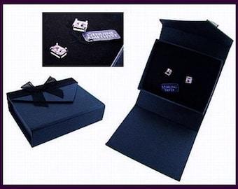 Natural Amethyst Earrings Signed 925 Sterling Silver Post Backs Boxed Gift Set Vintage