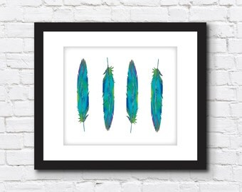 Wall Art   Digital Print   Colorful Watercolor Feathers   8X10