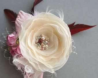 Wedding Hairpiece Bridal Flower Hair Clip Vintage Rustic Flower Headpiece Feather Hair Accessory Fascinator Ivory Champagne Pink Marsala Red