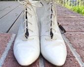 Cream Granny Ankle Boots 6
