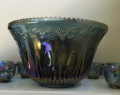 Vintage Indiana Blue Harvest Carnival Glass Punch Bowl and Footed Cup Set
