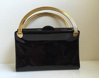 Black Patent Art Deco Handbag