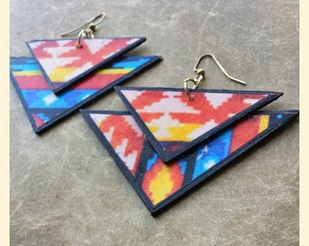 Large, colorful, triangular earrings