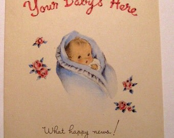 Vintage New baby  card 1948 by Norcross