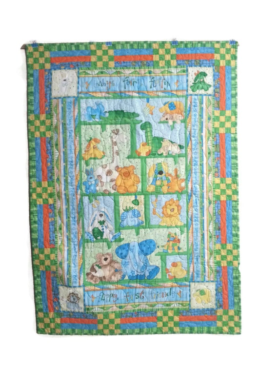 Nursery Quilt, Crib Quilt, Baby Quilt, Baby's First Friends, Stuffed Animal Quilt, 40x55