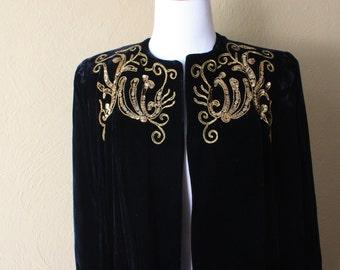 Vintage Black Silk Velvet Opera Coat
