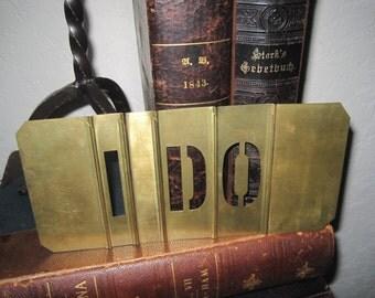 "Vintage Interlocking Large Brass Stencils 4"" high - Vintage Wedding Decor - I Do"