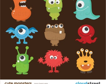buy 2 get 1 free Cute Monsters Clipart for Personal and Commercial Use ( cute monster clip art ) vector illustration