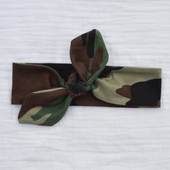 Army Camo Knotted Tie Headband Stretchy Knit Adjustable