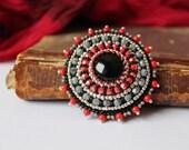 Black Red Brooch Black Onyx Brooch Cabochon Brooch Red Beads Brooch Embroidery Brooch Red Grey Brooch Classic Brooch Black Red Jewelry