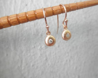 Rose gold teardrop earrings with CZ - dangle earrings - tiny teardrop earrings - rose gold dangle earrings - wedding earrings