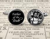 Father Of The Bride Cufflinks,Custom Photo Accessories, Wedding Cufflinks