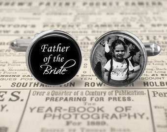 Father Of The Bride Cufflinks,Custom Photo Accessories, Wedding Cufflinks