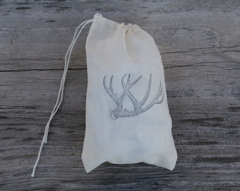 Set of 10 Hand stamped Deer Antler Party Muslin Gift Favor Bags100% organic made in america
