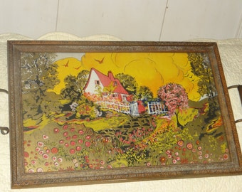 Vintage Serving Tray with Celloid Handles and Picture