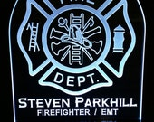 """Custom Firefighter Sign - Fully customizable!  10"""" x 8"""" Fire signs w/remote!  Perfect Gift! Great desk light!"""