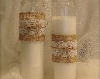 10 Bulk Burlap and Lace Candle holder, Rustic wedding candle holders, Rustic wedding decor, Rustic farmhouse wedding decor