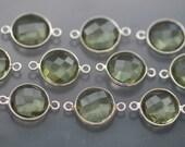 Amethyst Green Quartz Faceted Coin Bezel Gemstone Sterling Silver Connector, 20 x 13 mm GM2234FC/20/SC